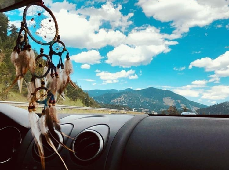 Dream Catcher Hanging From Rearview Mirror Perfect For When I Fall Asleep Driving