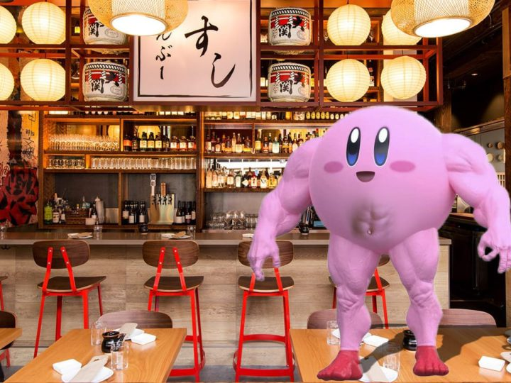 Remember Kirby? Well Now He's Jacked And Wants You To Eat Sushi Off His Abs