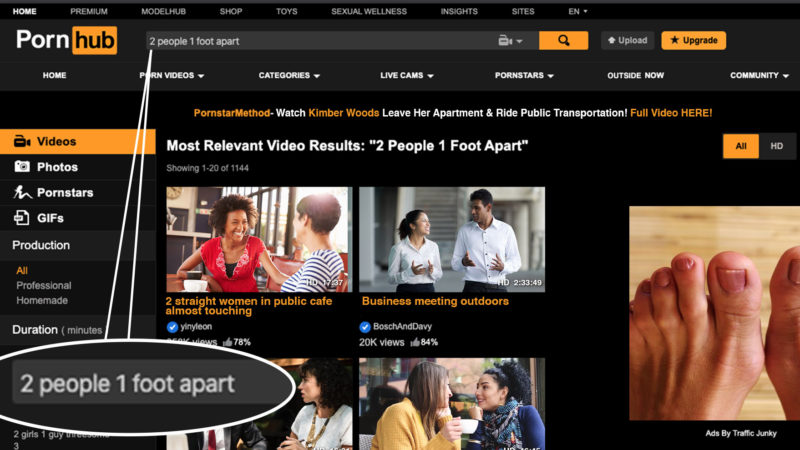 Desperate Times: Top Pornhub Search Now 'Two People One Foot Apart'