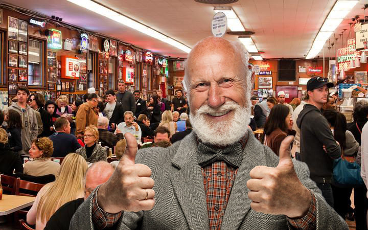 Dad Just Glad He Got To Crowded Restaurant Right On Time